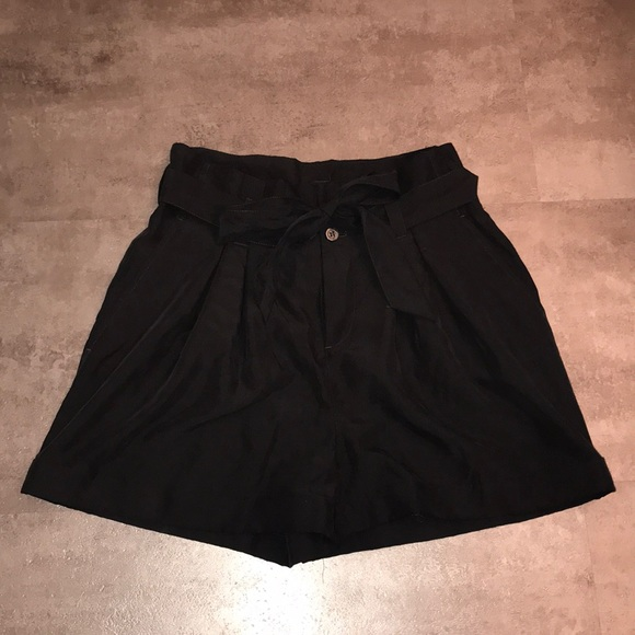 Black Tie Front Paperbag Shorts